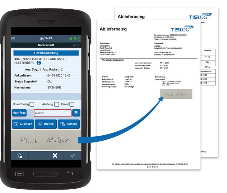 TISLOG Logistiksoftware | Ablieferbeleg