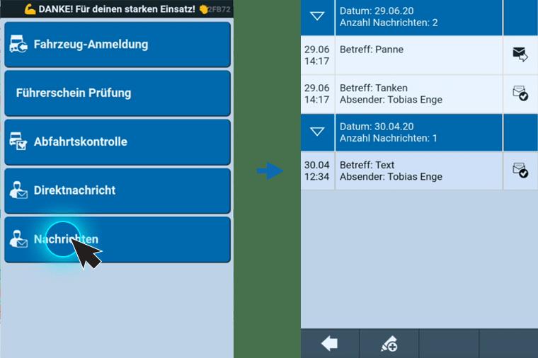 TISLOG Logistiksoftware | Meldungsliste