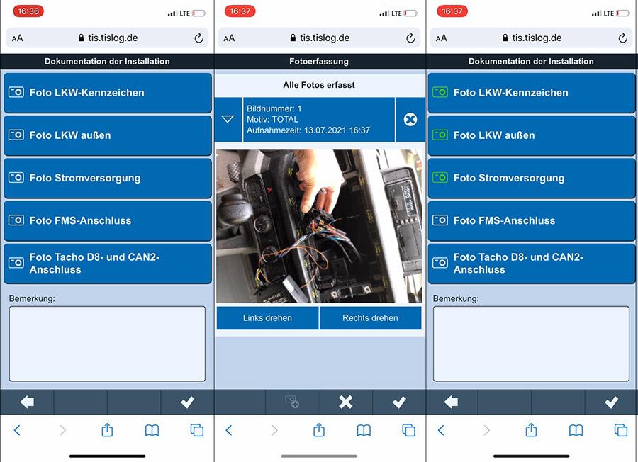 Einbau-App der TIS GmbH   telematicbox Truck