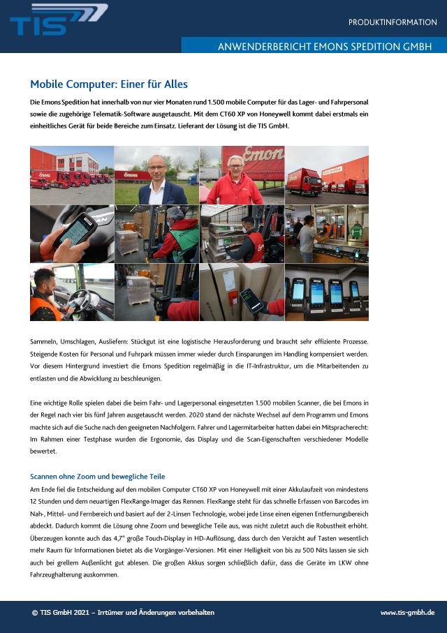 Vorschaubild für Download | Emons Anwenderbericht der TIS GmbH
